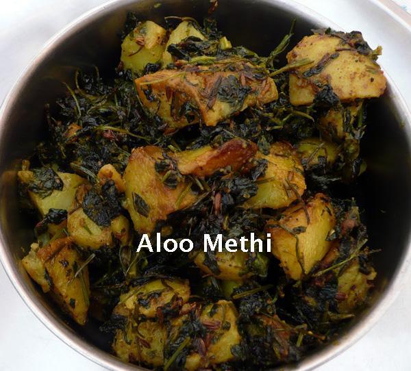Aloo Methi-Potato and Fenugreek Leaves Bhaji/Sabji