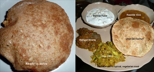 Urad Dal Kachauri (Split, Skinless Black Gram) - Deep Fried Indian Flat Bread