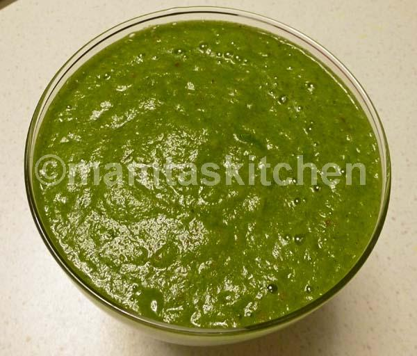 Coriander and Mint Chutney with Pomegranate Seeds