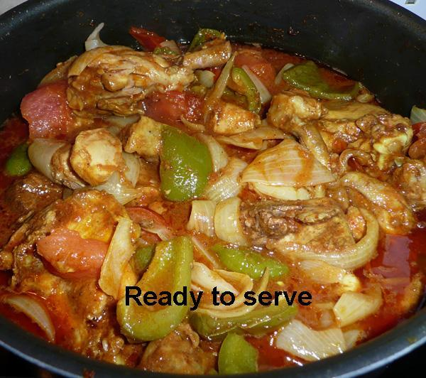Chicken Jalfrezi - A Curry with Tomatoes and Capsicum)