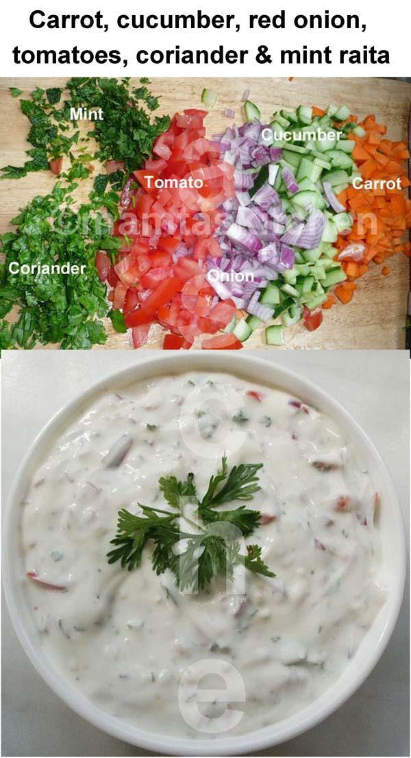 Cucumber, Onion &Tomato Raita & Varitions (Yoghurt)