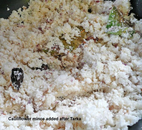 Cauliflower Mince, A Vegetarian Keema (Bhaji/Sabji)