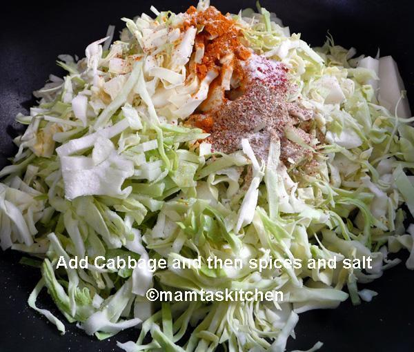 Cabbage Bhaji/Sabji 4 With Corn Kernels
