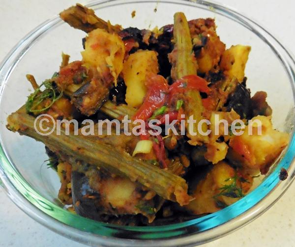 Potato, Aubergine and Drumstick Bhaji/Sabji