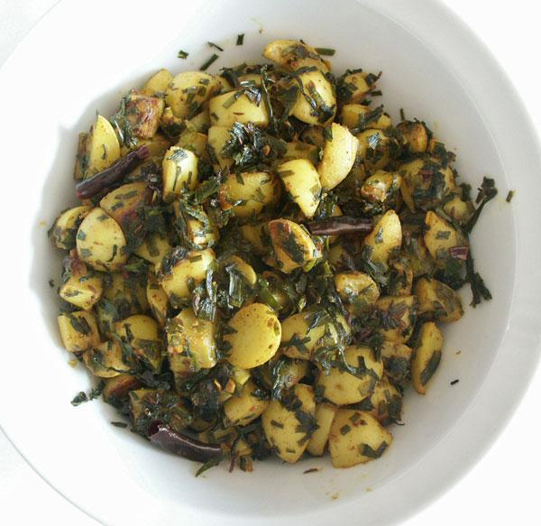 Wild Garlic  Leaves and Potato Bhaji/Sabji