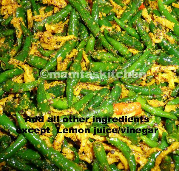 Chilli Pickle 3 in Lime Juice or Vinegar, With Mustard Seeds