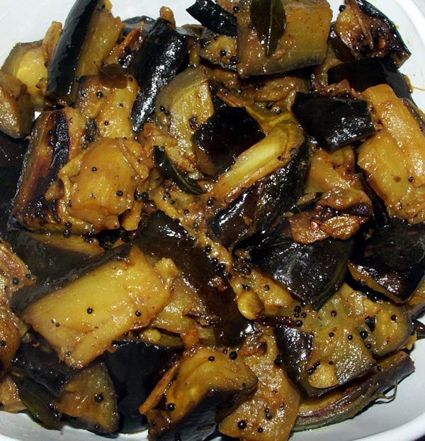 Aubergine Stir Fried Bengali Style, A Bhaji (Dry Curry)