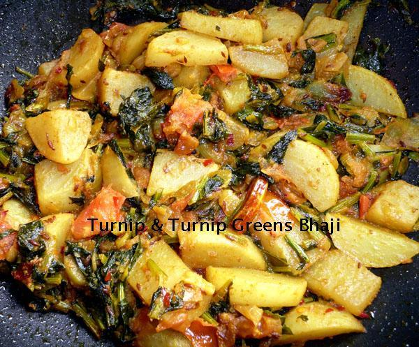 Turnip and Turnip Greens Bhaji/Sabji 2, Sharda's