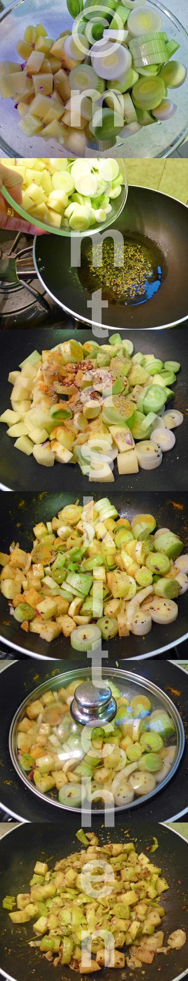 Leek and Potato Bhaji/Sabji