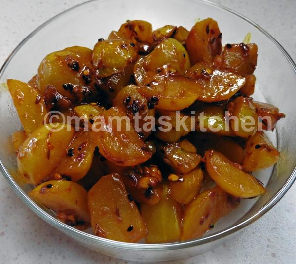 Amla Indian Gooseberry Sweet and Sour Pickle Style Bhaji - (Dry Curry)