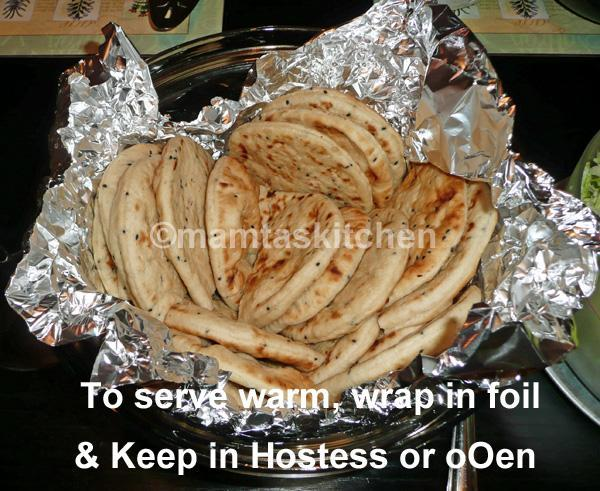 Naan 2 Plain Leavened Flat Bread Cooked on  Tava (Cast Iron Indian Pan)