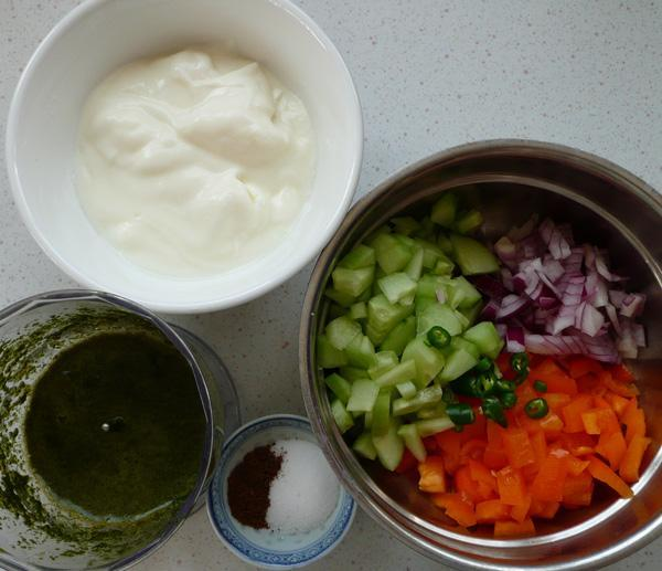 Cucumber, Yellow/Red Pepper, Onion and Mint Raita (Yoghurt)