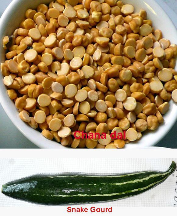 Chana Dal (Split Bengal Gram)  with Snake Gourd