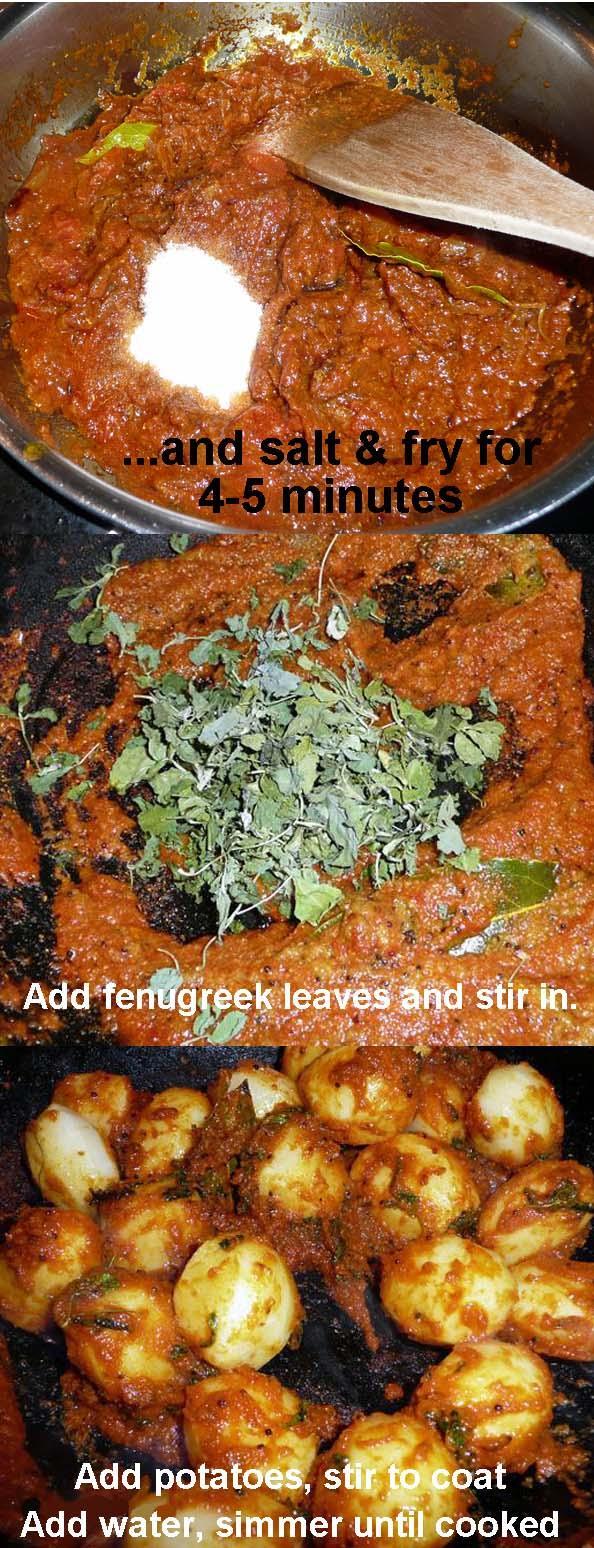 Potato Curry 3b, with Onion& Tomato Gravy, North Indian