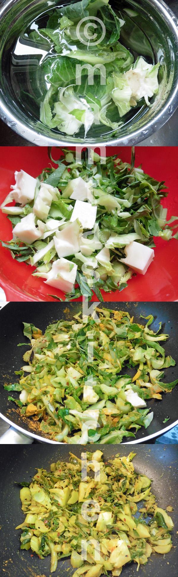 Cauliflower Greens or Leaves And Stalk Bhaji (Dry Curry)