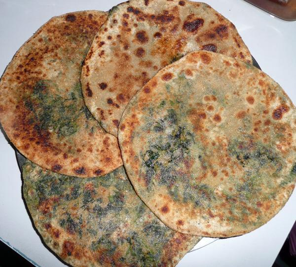 Methi Paratha 2, (Fenugreek Leaves Stuffed)