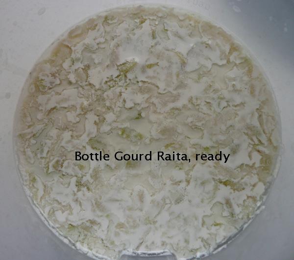 Bottle Gourd Raita 1 (Yoghurt), Salt Free, Traditional Method