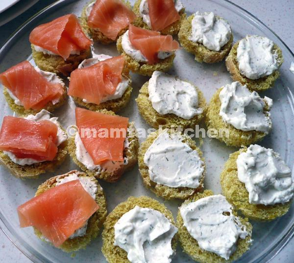 Smokes Salmon and Cream Cheese Canape