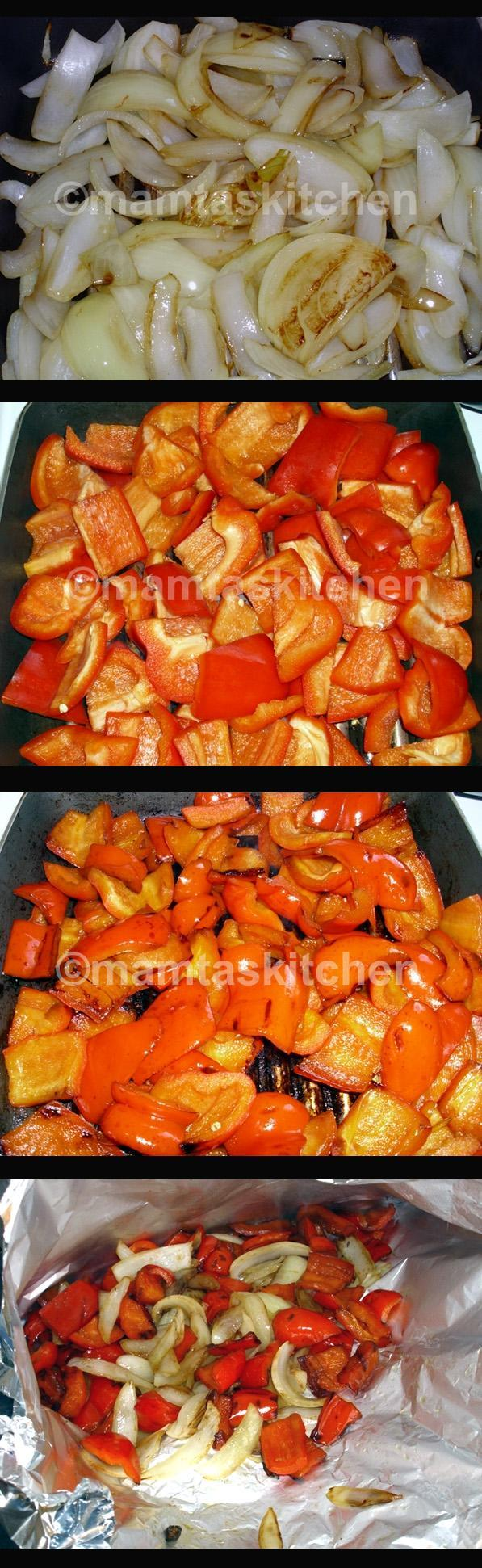Baked Red Peppers and Onions