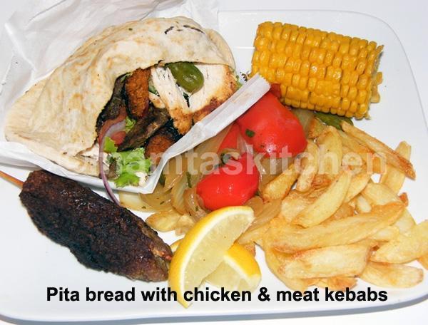 Chicken Kebabs in Pita Bread Pockets