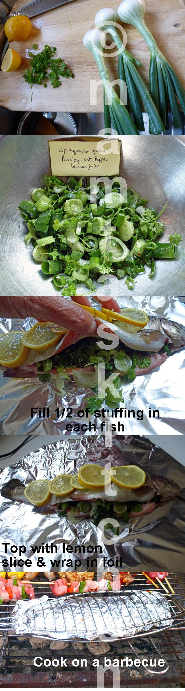Trout with Fresh Spring Onion Greens and Parsley Stuffing