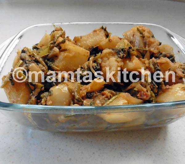 Turnip and Turnip Greens Bhaji/Sabji 3