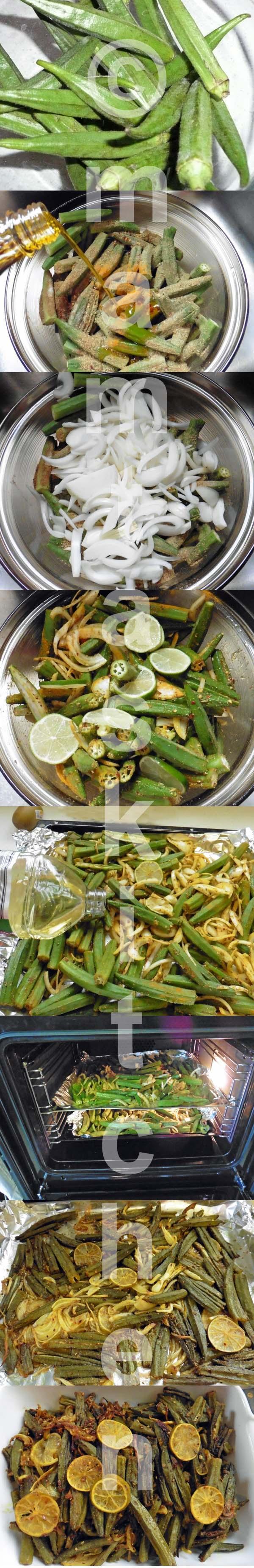 Bhindi (Whole Okra/Ladies Fingers) Bhaji/Sabji, Oven Cooked