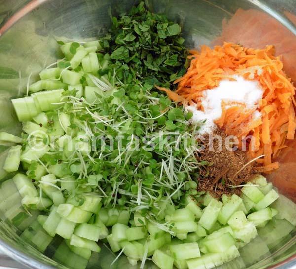 Cucumber, Carrot, Mint and Cress Raita