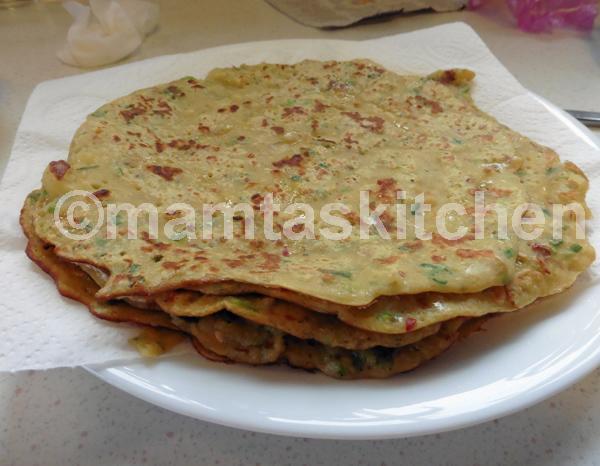 Besan (Gram Flour) Chilla Pancake With Potatoes And Onions (Savoury & Vegan & Gluten Free)